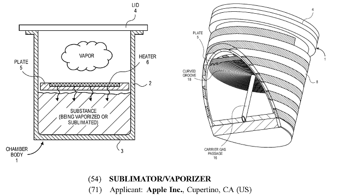 Apple vaporizer patent - medical marijuana?