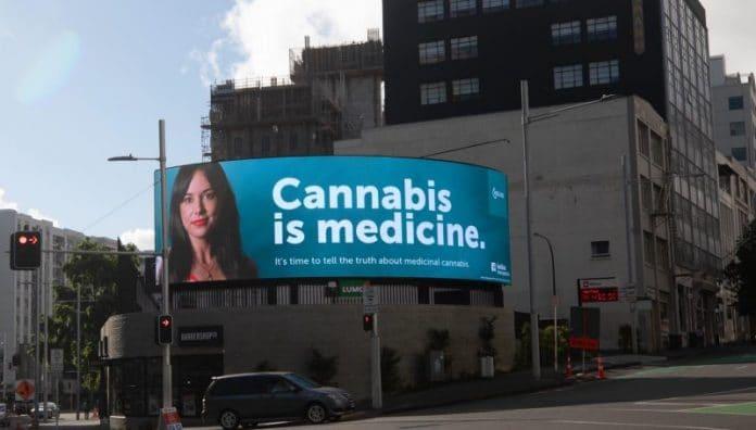 Medical cannabis billboard in Auckland